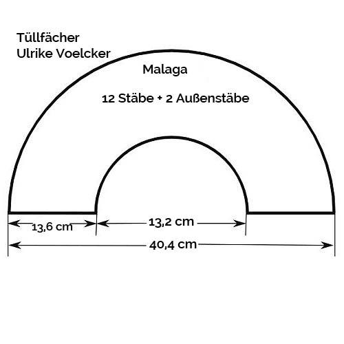 Fächergestell Modell Malaga, Zeichnung, Größenangabe, in der Klöppelwerkstatt