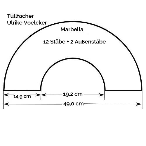 Fächergestell Modell Marbella, Zeichnung, Größenangabe, in der Klöppelwerkstatt, Tüllfächer, Ulrike Voelcker