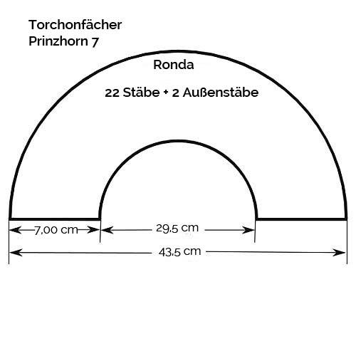 Fächer Modell Ronda, Zeichnung, Größenangabe, in der Klöppelwerkstatt