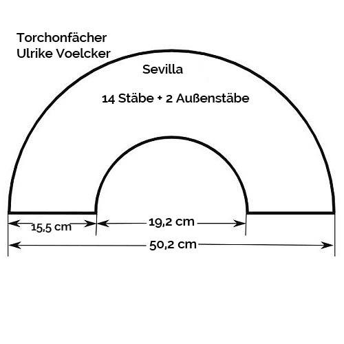 Fächer Modell Sevilla, Zeichnung, Größenangabe, in der Klöppelwerkstatt