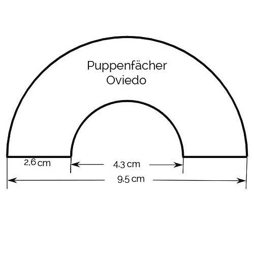 Puppenfächer Oviedo & Brief Binche Zeichnung, Größenangabe, in der Klöppelwerkstatt