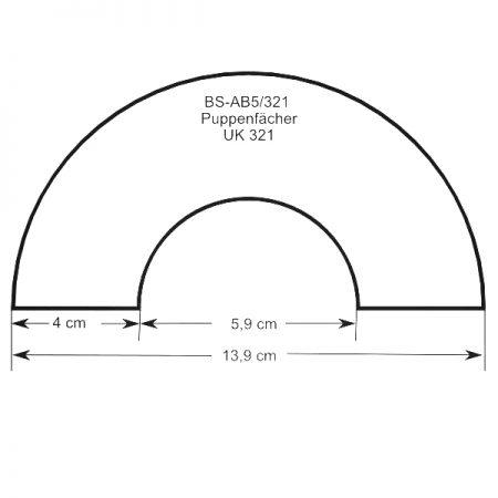 Zeichnung mit Größenangaben zum Artikel: Puppenfächer BS-AB5 und Brief UK321