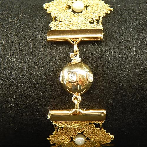 Kugelschliesse 14690 vergoldet geklöppeltes Armband