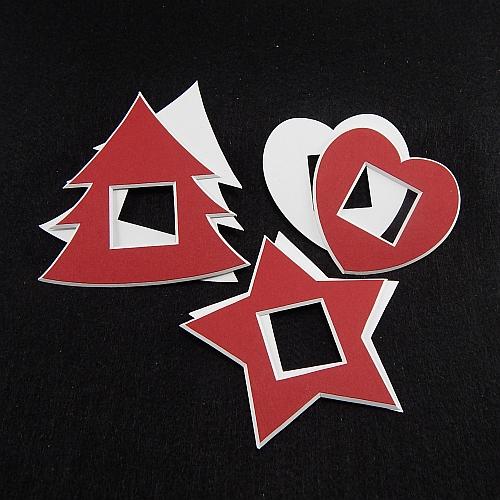 Deko-Passepartout 3er Set Mini Tanne-Stern-Herz vorder- und rückseite
