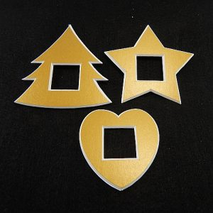 Deko-Passepartout 3er Set Mini Tanne-Stern-Herz in gold