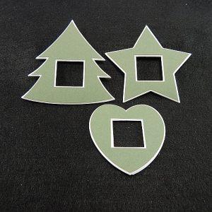 Deko-Passepartout 3er Set Mini Tanne-Stern-Herz in grün