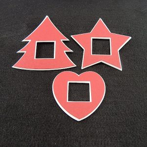 Deko-Passepartout 3er Set Mini Tanne-Stern-Herz in rot