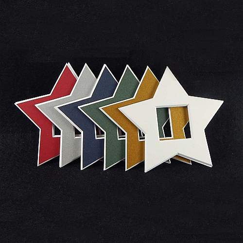 Deko-Passepartout Sterne in 6 Farben