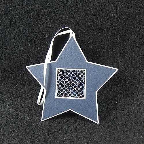 Deko-Passepartout Sterne blau mit geklöppelter Spitze