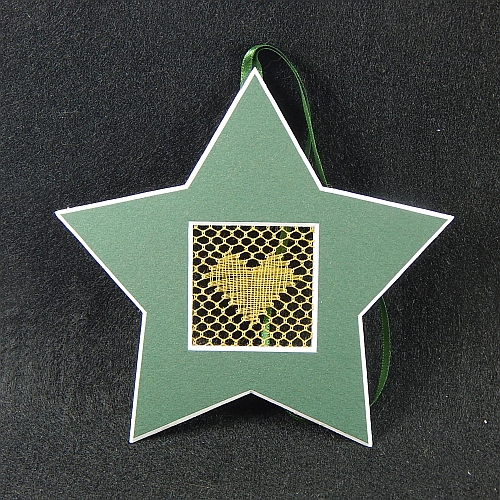 Deko-Passepartout Sterne grün mit geklöppelter Spitze