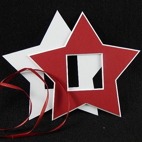 Deko-Passepartout Sterne in rot, vorder- und rückseite
