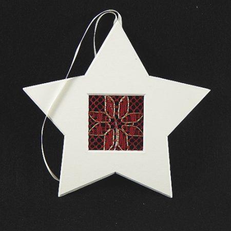 Deko-Passepartout Sterne weiß mit geklöppelter Spitze