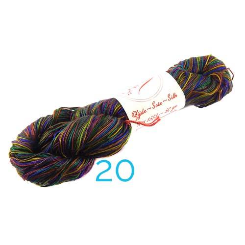 Fresia Seide, 100 % Seide, zum klöpeln, stricken und häkeln in der Farbe 20 multicolor dunkle töne