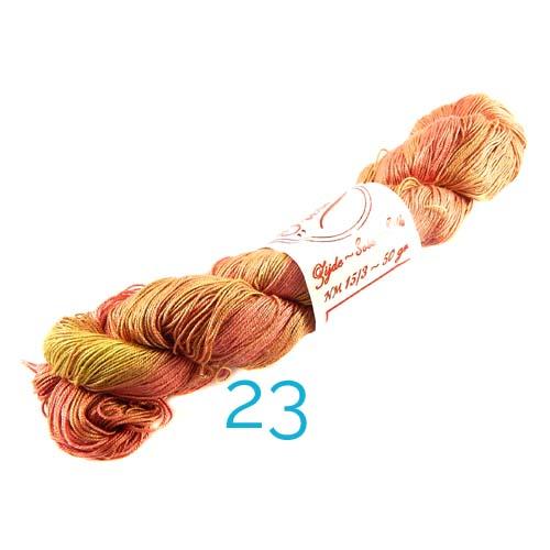 Fresia Seide, 100 % Seide, zum klöpeln, stricken und häkeln in der Farbe 23gelb-orange-rose