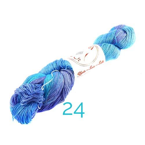 Fresia Seide, 100 % Seide, zum klöpeln, stricken und häkeln in der Farbe 24 türkis -lila