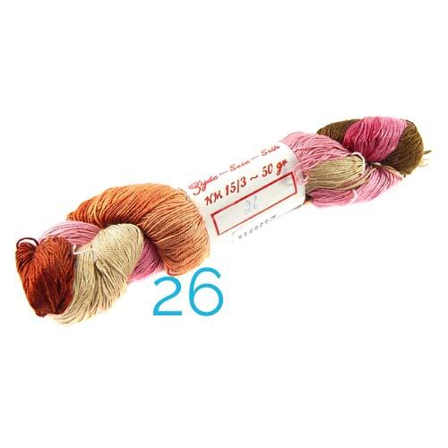 Fresia Seide, 100 % Seide, zum klöpeln, stricken und häkeln in der Farbe 26 rose-orange-beige-kaki-rot