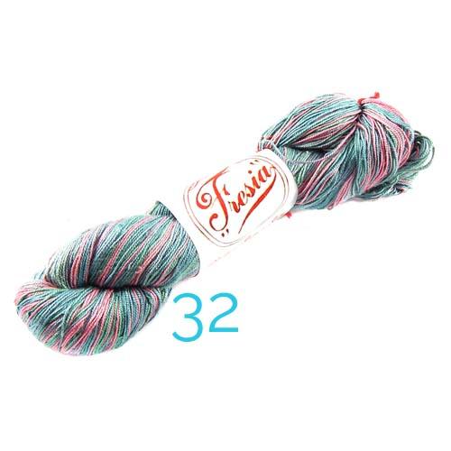 Fresia Seide, 100 % Seide, zum klöpeln, stricken und häkeln in der Farbe lila-hellgrün-blau-rose