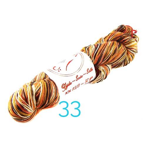 Fresia Seide, 100 % Seide, zum klöpeln, stricken und häkeln in der Farbe 33 braun-beige-rost