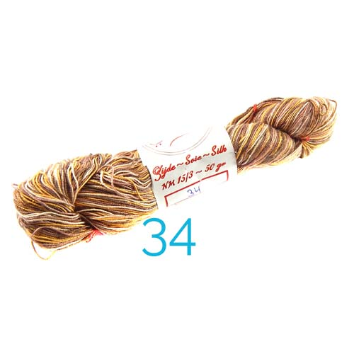 Fresia Seide, 100 % Seide, zum klöpeln, stricken und häkeln in der Farbe 34 orange-braun-weiss