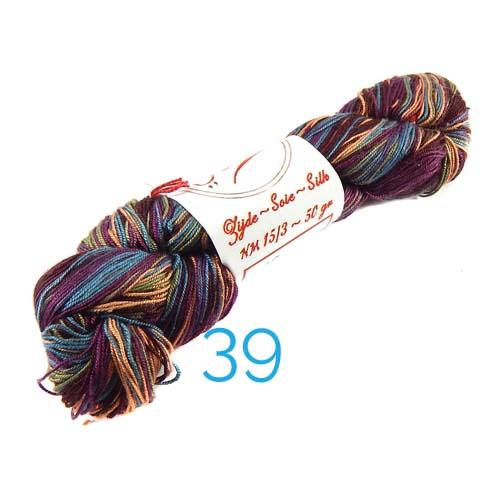 Fresia Seide, 100 % Seide, zum klöpeln, stricken und häkeln in der Farbe 39 multi-bordeuax-moosgrün-kupfer-türkis-blau