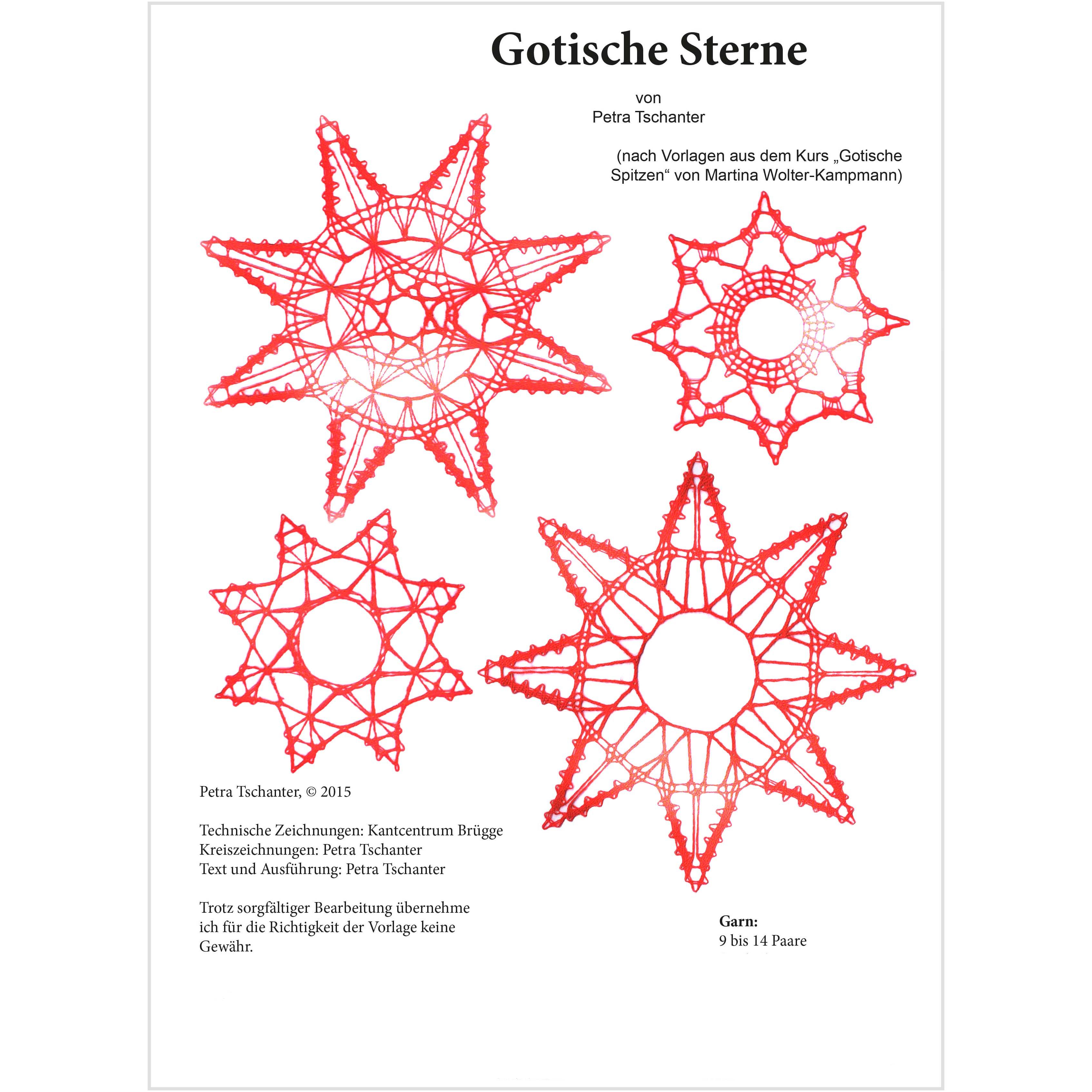 Klöpelbrief Gotische Sterne~Petra Tschanter Klöppelbrief