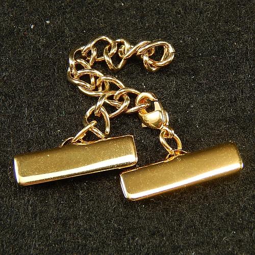 Klemme mit Verlaengerungskette und Karabiner 20mm gold