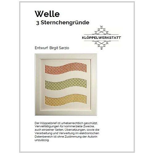 Welle 3 Sternchengründe, Klöppelbrief, eigener Entwurf, in der Klöppelwerkstatt erhältlich.