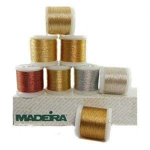 8 Rollen Madeira Metallic No 12, zum klöppeln und sticken.