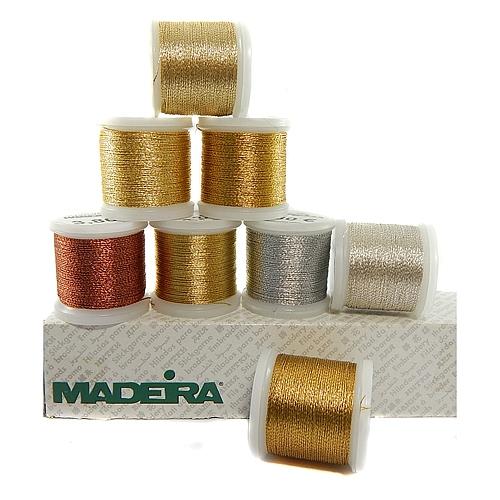 Madeira Metallic No 12 - Klöppelwerkstatt, ist ein 3-fach, teilbares Metalleffektgarn, gut geeignet zum Klöppeln, sticken, Hand-Quilten, Maschinensticken