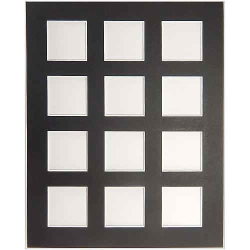 Passepartout 12 Ausschnitte in schwarz, Rückseite geschlossen