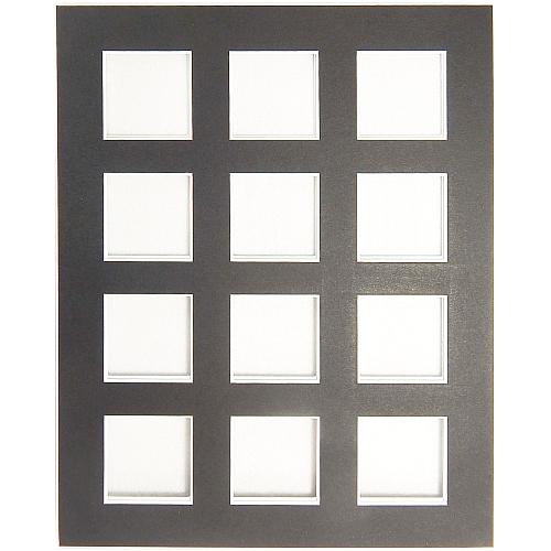 Passepartout 12 Ausschnitte in schwarz, Rückseite offen