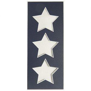 Passepartout 3 Ausschnitte Sterne nachtblau Rückseite offen