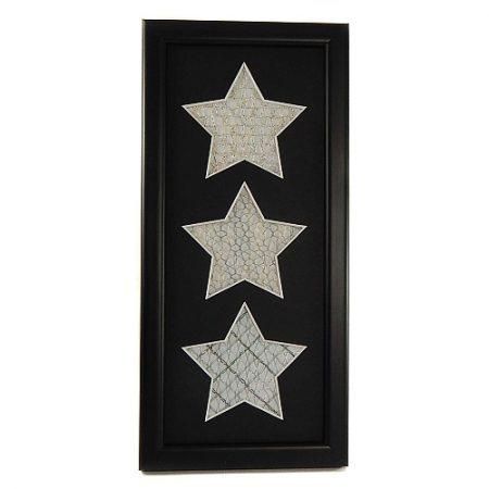 Passepartout 3 Ausschnitte Sterne schwarz Rückseite offen, geklöppelt, im Rahmen