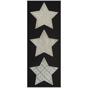 Passepartout 3 Ausschnitte Sterne schwarz Rückseite offen, geklöppelt
