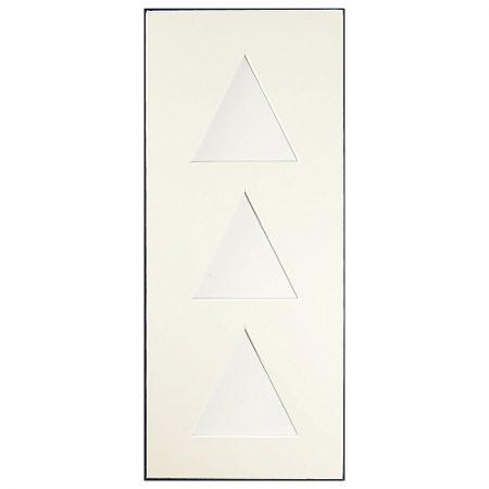 Passepartout 3 Ausschnitte dreieckig weiß, Rückseite geschlossen