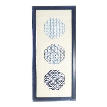 Passepartout 3 Ausschnitte achteckig, weiß, 13 cm x 31 cm,geklöppelt