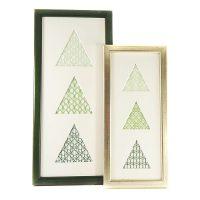 Passepartout 3 Ausschnitte dreieckig in 2 Größen mit geklöppelter Spitze