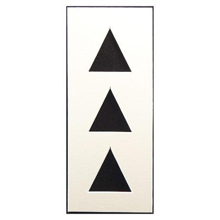 Passepartout 3 Ausschnitte dreieckig, Rückseite offen, weiß 10 cm