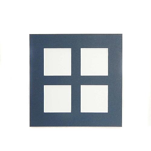 Passepartout 4 Ausschnitte, geschlossene Rückseite in blau