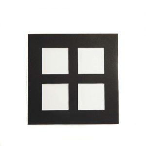 Passepartout 4 Ausschnitte, geschlossene Rückseite in schwarz