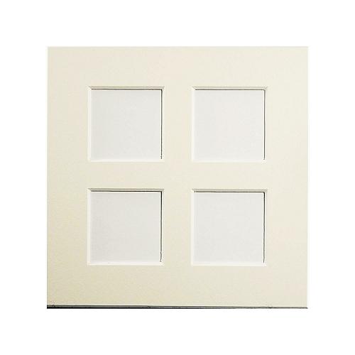 Passepartout 4 Ausschnitte, geschlossene Rückseite in weißin