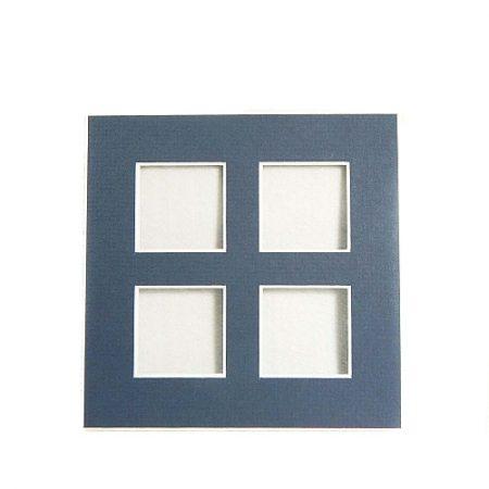 Passepartout 4 Ausschnitte, offene Rückseite in blau
