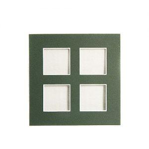 Passepartout 4 Ausschnitte, offene Rückseite in grün