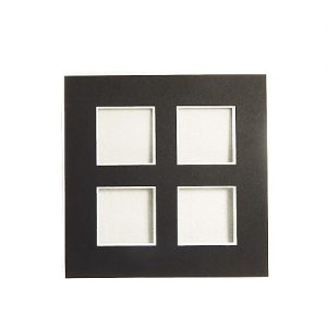 Passepartout 4 Ausschnitte, offene Rückseite in schwarz