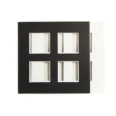 Passepartout 4 Ausschnitte in schwarz, offen, vorder und Rückseite