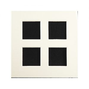 Passepartout 4 Ausschnitte, offene Rückseite in weiß