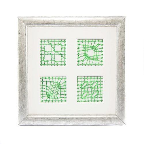 Passepartout 4 Ausschnitte im Rahmen geklöppelt 4 Spinnenvariationen eigener Brief