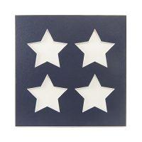 Passepartout 4 Ausschnitte Sterne, nachtblau, Rückseite geschlossen