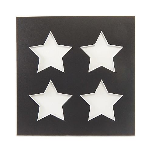 Passepartout 4 Ausschnitte Sterne, schwarz, Rückseite geschlossen