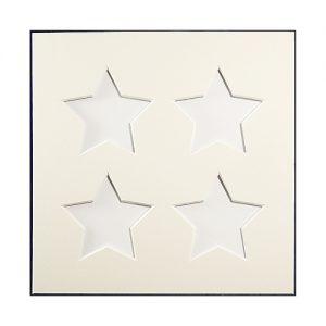 Passepartout 4 Ausschnitte Sterne, weiß, Rückseite geschlossen